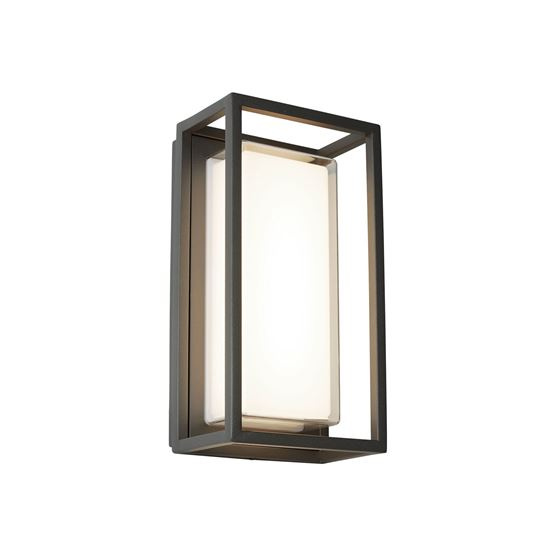 BEL AIRE ALUMINIUM IP44 BLACK OUTDOOR WALL LIGHT POLYCARBONATE DIFFUSER 3831GY