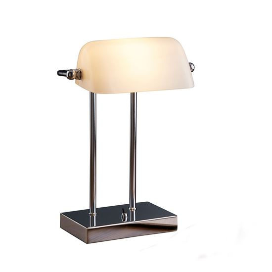 BANKERS STYLE CHROME TABLE LAMP WITH WHITE GLASS SHADE 1200CC