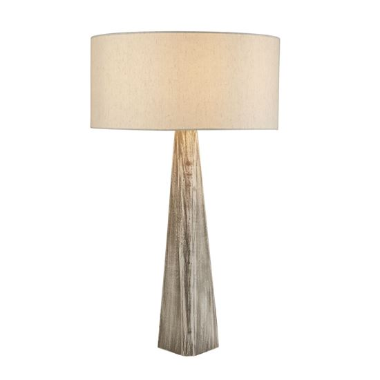 BARK TABLE LAMP, WASH GREY BASE, MATCHING OATMEAL SHADE 1026GY
