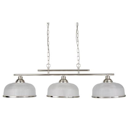 BISTRO II - 3 LIGHT CEILING BAR, SATIN SILVER, CRYSTAL GLASS, ADJUSTABLE HEIGHT 3593-3SS