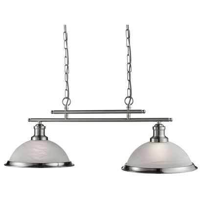 BISTRO SATIN SILVER 2 LIGHT CEILING BAR PENDANT WITH MARBLE GLASS SHADES 2682-2SS