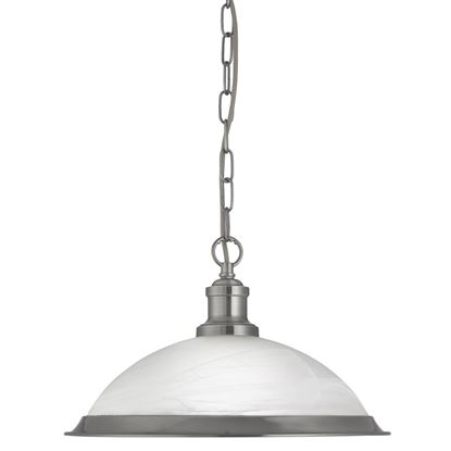 BISTRO SATIN SILVER PENDANT LIGHT WITH MARBLE GLASS SHADE 1591SS