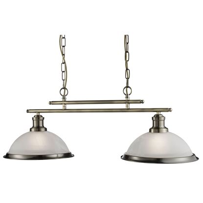BISTRO ANTIQUE BRASS 2 LIGHT CEILING BAR PENDANT WITH MARBLE GLASS SHADES 2682-2AB