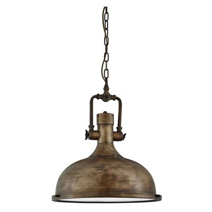 BLACK GOLD INDUSTRIAL PENDANT LIGHT WITH FROSTED DIFFUSER 1322BG