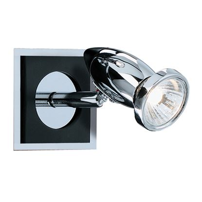 COMET ALUMINIUM CHROME BLACK SPOTLIGHT WALL BRACKET, SWITCHED, ADJUSTABLE HEAD 7491