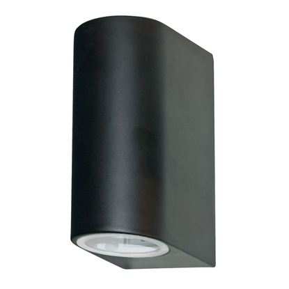 BLACK IP44 2 LIGHT OUTDOOR LIGHT WITH DIE CAST ALUMINIUM & FIXED GLASS LENS 8008-2BK-LED
