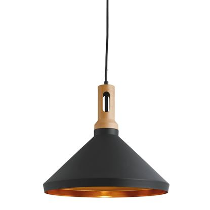 CONE BLACK PENDANT LIGHT WITH GOLD INNER, WOOD D'COR, ADJUSTABLE 7051BK