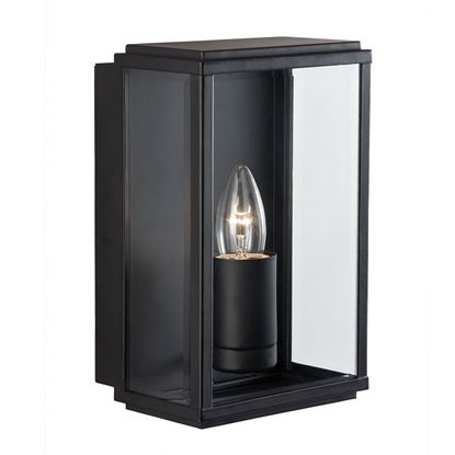 BLACK IP44 RECTANGULAR BOX OUTDOOR WALL LIGHT WITH BEVELLED GLASS 8204BK