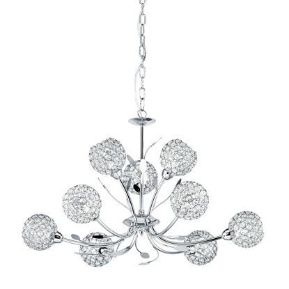 BELLIS II CHROME 9 LIGHT FITTING WITH CLEAR METAL GLASS SHADES 5579-9CC