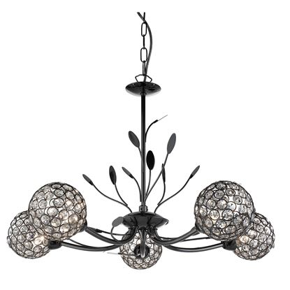 BELLIS II BLACK CHROME 5 LIGHT CEILING FITTING WITH CLEAR METAL GLASS SHADES 5575-5BC