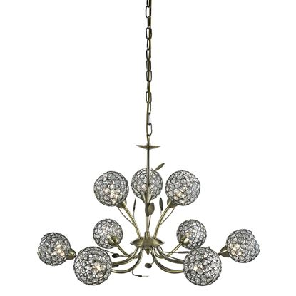 BELLIS II ANTIQUE BRASS 9 LIGHT FITTING WITH CLEAR METAL GLASS SHADES 5579-9AB