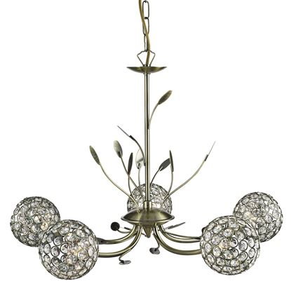 BELLIS II ANTIQUE BRASS 5 LIGHT FITTING WITH CLEAR METAL GLASS SHADES 5575-5AB