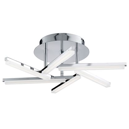 SOLEXA 6 LIGHT LED CHROME CEILING FITTING WITH FROSTED CRISS CROSS PATTERN ARMS 9006-6CC