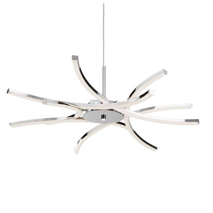 SEARCHLIGHT SOLEXA 6 LIGHT LED CEILING PENDANT, CURVED CHROME ARMS, ADJUSTABLE HEIGHT 3636-6CC