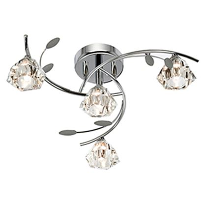 SIERRA CHROME 4 LIGHT SEMI-FLUSH FITTING WITH SCULPTURED GLASS SHADES 2634-4CC