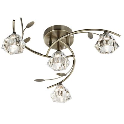 SIERRA ANTIQUE BRASS 4 LIGHT SEMI-FLUSH FITTING WITH SCULPTURED GLASS SHADES 2634-4AB