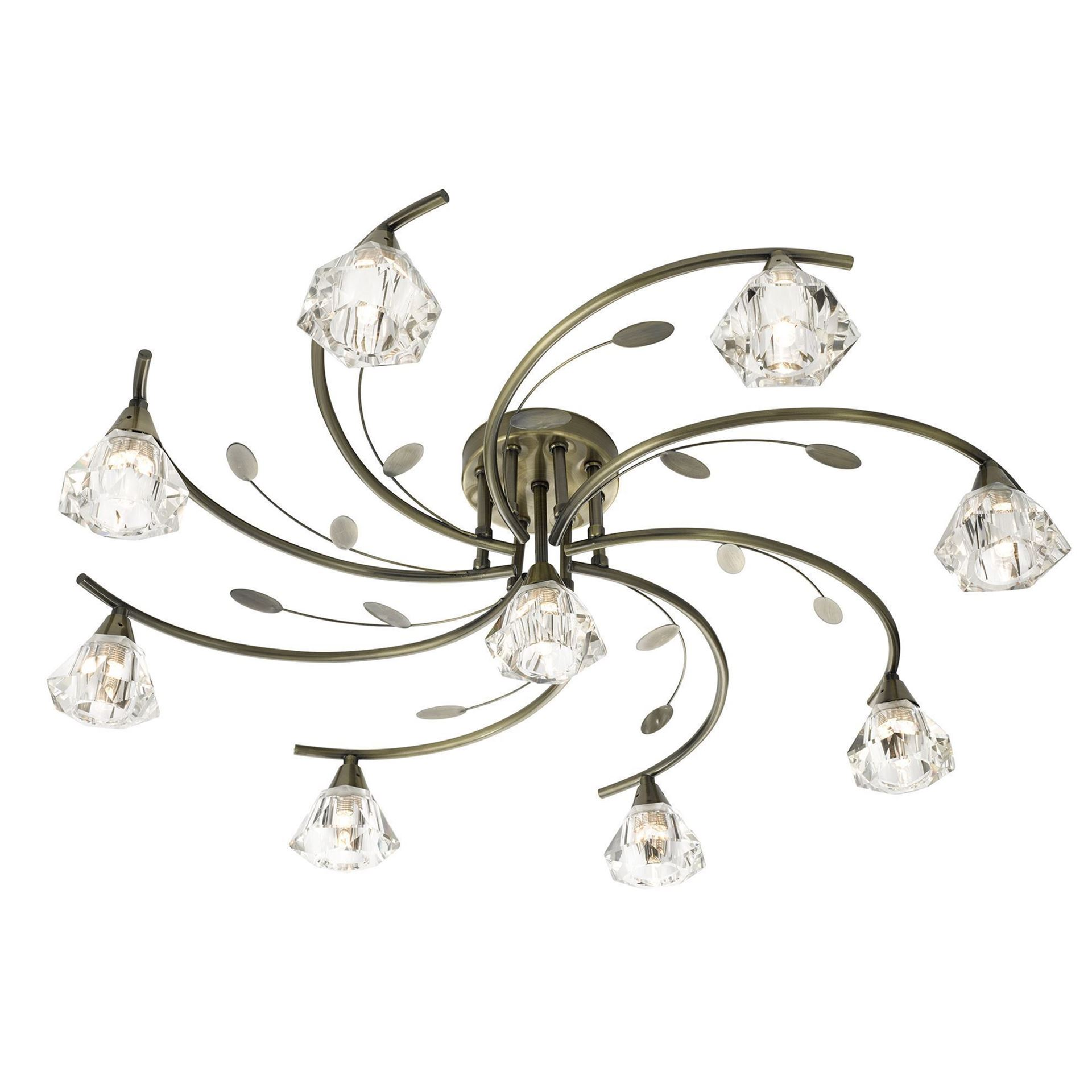 SIERRA ANTIQUE BRASS 9 LIGHT SEMI-FLUSH FITTING WITH SCULPTURED GLASS SHADES 2639-9AB