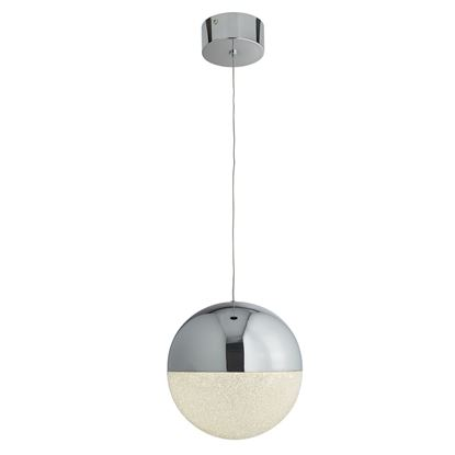 SEARCHLIGHT MARBLES CHROME, 1 LIGHT LED GLOBE PENDANT, CRUSHED ICE EFFECT SHADE 5841CC