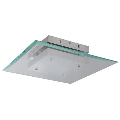 LEXI CHROME SQUARE LED GLASS PENDANT-FLUSH FITTING, 16W, 3101-16CC
