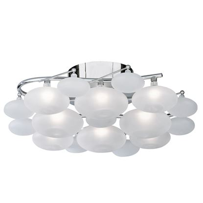 DULCIE CHROME 8 LIGHT FITTING WITH FROSTED GLASS PEBBLE SHADES 8408-8CC