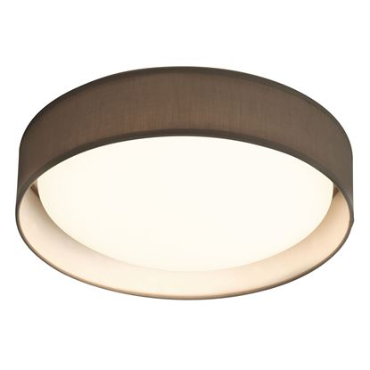 MODERN 15 WATT 1 LIGHT LED FLUSH FITTING, ACRYLIC DIFFUSER, GREY FABRIC SHADE 9371-37GY