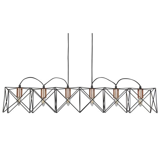 SEARCHLIGHT ANTHEA 6 LIGHT METAL BLACK FRAME PENDANT BAR WITH COPPER DETAIL, ADJUSTABLE HEIGHT 8416-6BK