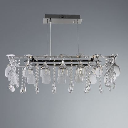 SEARCHLIGHT VINO CHROME 10 LIGHT METAL FITTING WITH CRYSTAL BUTTON DROPS & WINE GLASS 41510-10CC