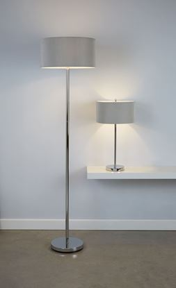 SEARCHLIGHT CHROME 3 LIGHT FLOOR LAMP WITH DRUM PLEAT SILVER SHADE 5663-3SI