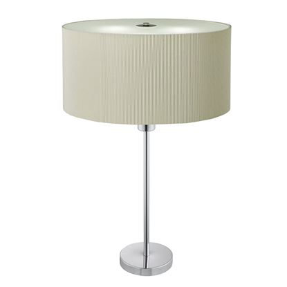 DRUM PLEAT CHROME 2 LIGHT TABLE LAMP WITH CREAM PLEATED SHADE 4562-2CR