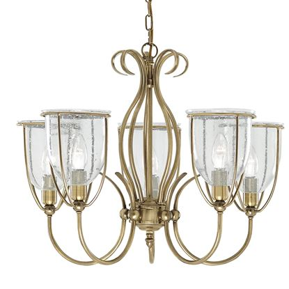 SILHOUETTE ANTIQUE BRASS 5 LIGHT FITTING WITH CLEAR SEEDED GLASS SHADES 6355-5AB