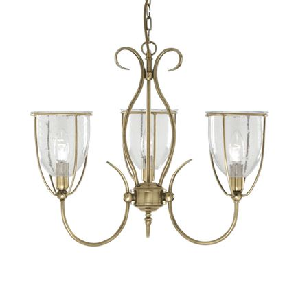 SILHOUETTE ANTIQUE BRASS 3 LIGHT FITTING WITH CLEAR SEEDED GLASS SHADES 6353-3AB