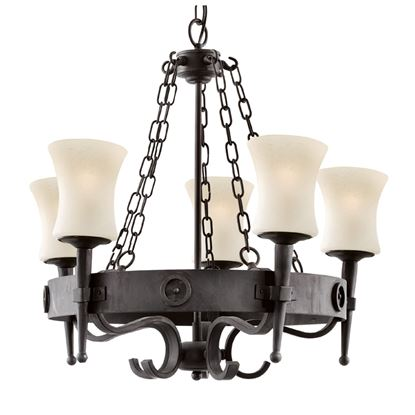 CARTWHEEL 5 LIGHT FITTING IN BLACK/BROWN WROUGHT IRON & SCAVO GLASS SHADES 0815-5BK