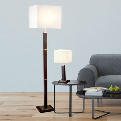 WAVERLEY BROWN WOOD FLOOR LAMP WITH SATIN SILVER TRIM & WHITE SHADE 8880BR
