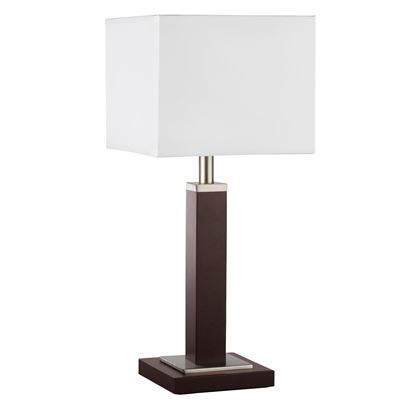 WAVERLEY BROWN WOOD TABLE LAMP WITH SATIN SILVER TRIM & WHITE SHADE 8877BR