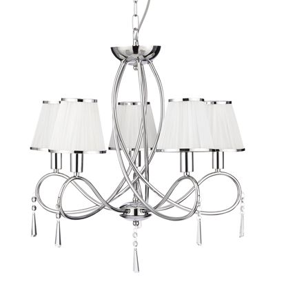 SIMPLICITY CHROME 5 LIGHT FITTING WITH GLASS DROPS & WHITE STRING SHADES 1035-5CC
