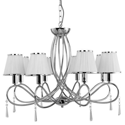 SIMPLICITY CHROME 8 LIGHT FITTING WITH GLASS DROPS & WHITE STRING SHADES 1038-8CC