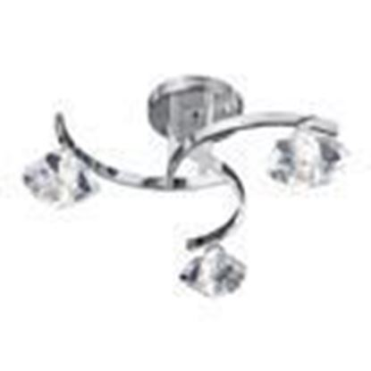 SCULPTURED ICE CHROME 3 LIGHT CURVED SEMI-FLUSH FITTING WITH CLEAR GLASS 8083-3CC
