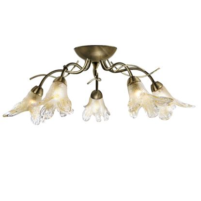 LILY ANTIQUE BRASS 5 LIGHT SEMI-FLUSH FITTING WITH AMBER & FROSTED PETAL GLASS 5495-5AB