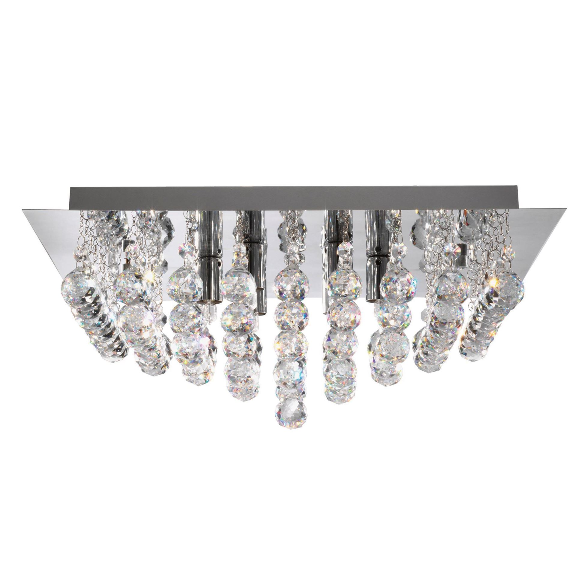 HANNA CHROME 6 LIGHT SQUARE SEMI-FLUSH WITH CLEAR FACETTED CRYSTAL BALLS 6406-6CC