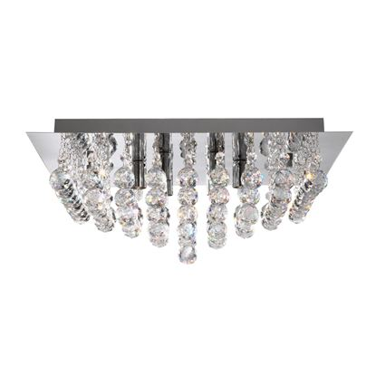 HANNA CHROME 8 LIGHT SQUARE SEMI-FLUSH WITH CLEAR FACETTED CRYSTAL BALLS 6408-8CC