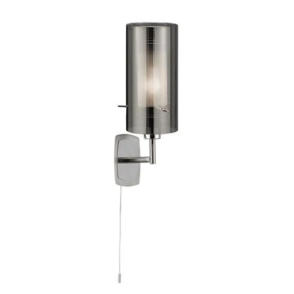 DUO 2 CHROME WALL LIGHT WITH SMOKED GLASS CYLINDER SHADE 2300-1SM