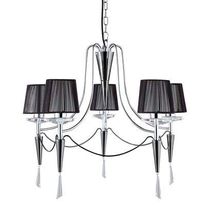 DUCHESS CHROME 5 LIGHT FITTING WITH BLACK STRING SHADES & CRYSTAL SCONCES 2085-5CC