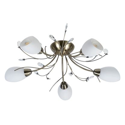 GARDENIA ANTIQUE BRASS 5 LIGHT SEMI-FLUSH WITH OPAL GLASS SHADES 1765-5AB