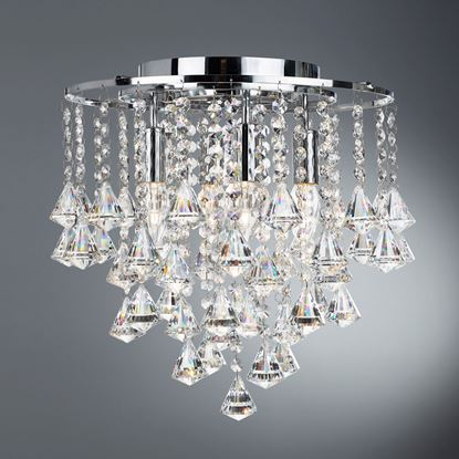 DORCHESTER CHROME 4 LIGHT CHANDELIER WITH CASCADING CLEAR CRYSTAL BUTTONS 3494-4CC
