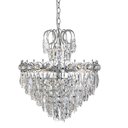 CATHERINE CHROME 5 LIGHT CEILING FITTING WITH CRYSTAL DECORATION 2595-5CC