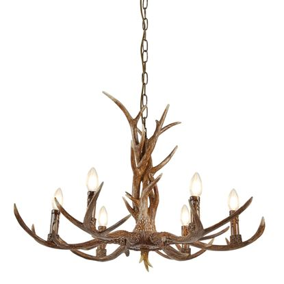 STAG 6 LIGHT ANTLER CEILING FITTING, RUSTIC BROWN RESIN FINISH 6416-6BR
