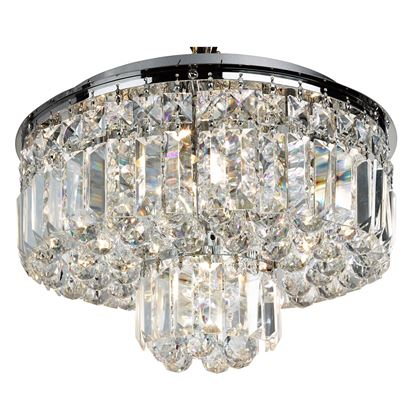 VESUVIUS CHROME 5 LIGHT FITTING WITH CLEAR CRYSTAL COFFIN DROPS 7755-5CC