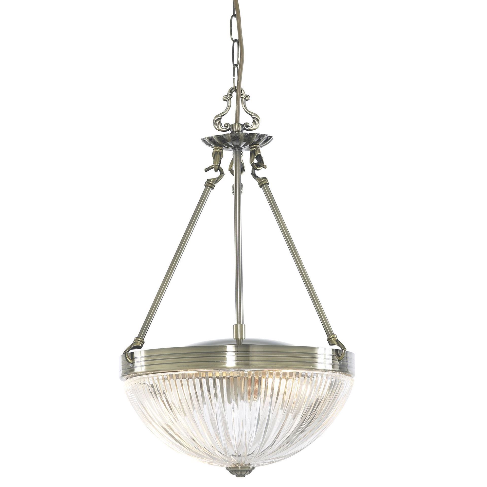 WINDSOR II ANTIQUE BRASS 2 LIGHT FITTING WITH CLEAR RIBBED GLASS SHADES 4772-2AB