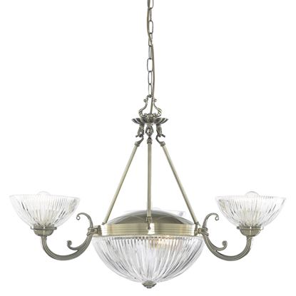 WINDSOR II ANTIQUE BRASS 5 LIGHT FITTING WITH CLEAR RIBBED GLASS SHADES 4775-5AB