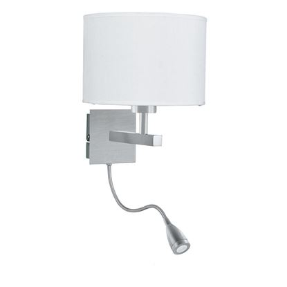 SATIN SILVER WALL LIGHT WITH WHITE SHADE INCORPORATING LED FLEXI-ARM 3550SS